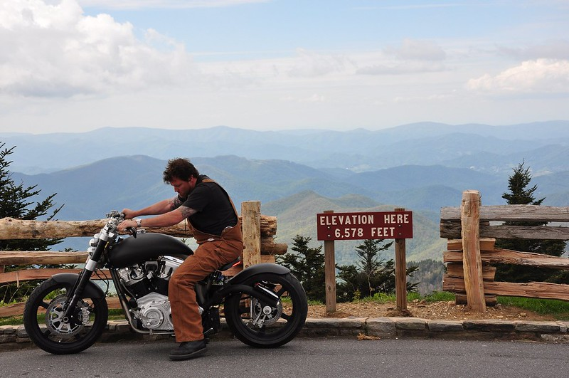 Motrocyclist on the Blue Ridge Mountains at Mout Mitchell