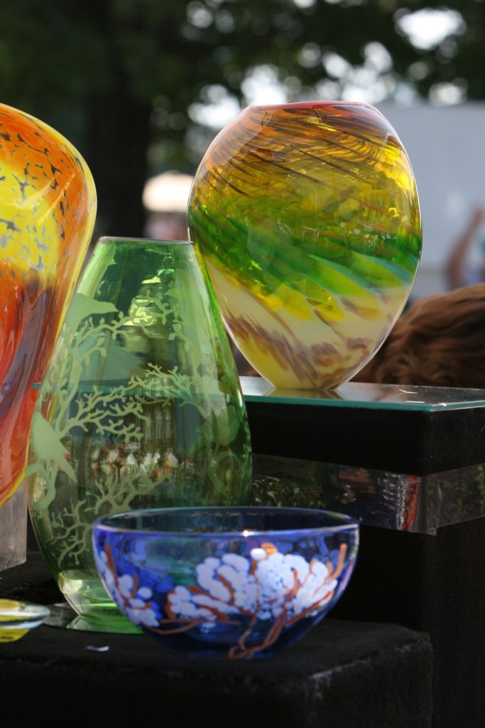 Many beautiful pieces of handmade art at the Mount Mitchell Crafts Fair